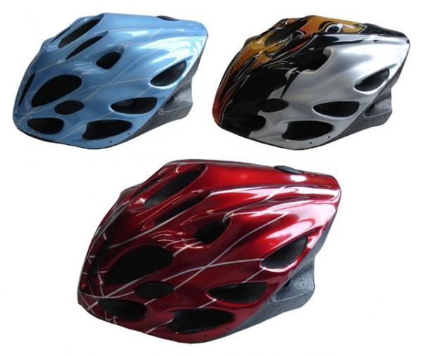 ACRA CSH21M modrá/stříbrná/červená cyklistická helma velikost M(56-58cm) 2015